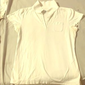 Women's JCREW M white Pocket Polo tee shirt